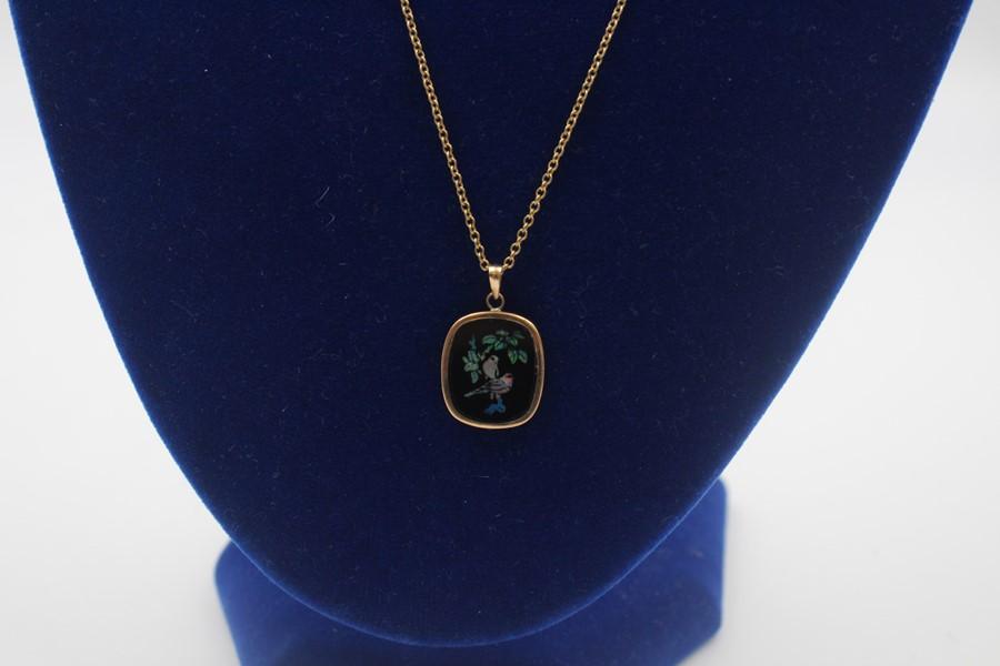 vintage 9ct gold Australian opal mosaic pendant necklace 2.8g - Image 2 of 4