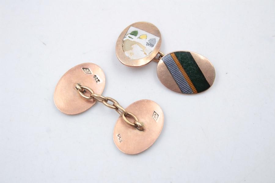 9ct Gold enamel cufflinks 6.4g - Image 2 of 5