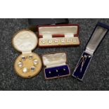 Box containing 3 9ct yellow gold dress studs in case 3 yellow metal stick pins, 2 cased button sets