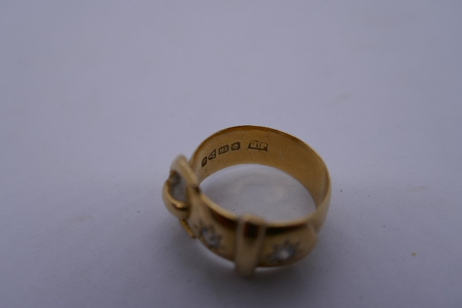 18ct yellow gold buckle ring inset with 2 sunburst diamonds, marked 18ct size N/o, 8.6g approx - Image 2 of 4