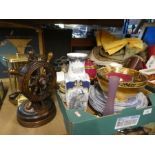 Two boxes of china, glass and sundries to include cutlery, door knobs, books, plates, clock and wood