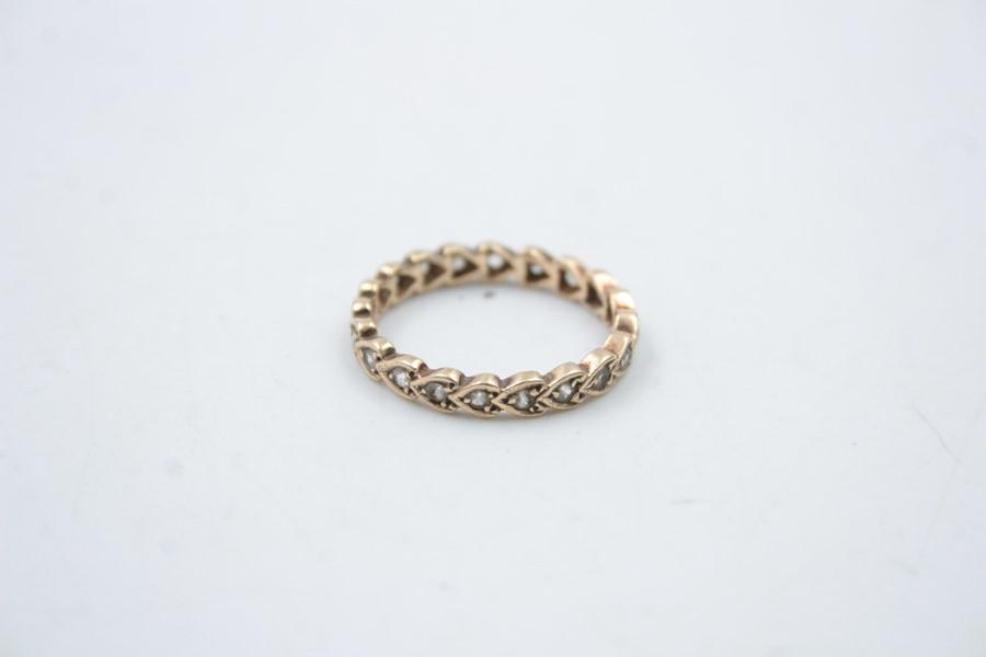vintage 9ct gold gemstone eternity ring 2.2g