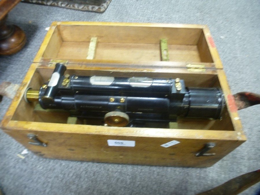 Old Theodolite by A G Thornton, in fitted case with tripod stand and one other