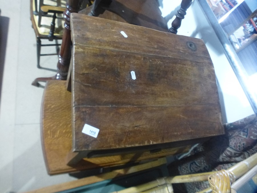 Drop leaf table on barley twist supports and a wooden writing slope with drawers etc - Image 2 of 3