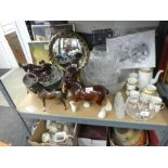 A shelf of mixed china, including horse figures, cut glass bowls, oriental vases, books, etc