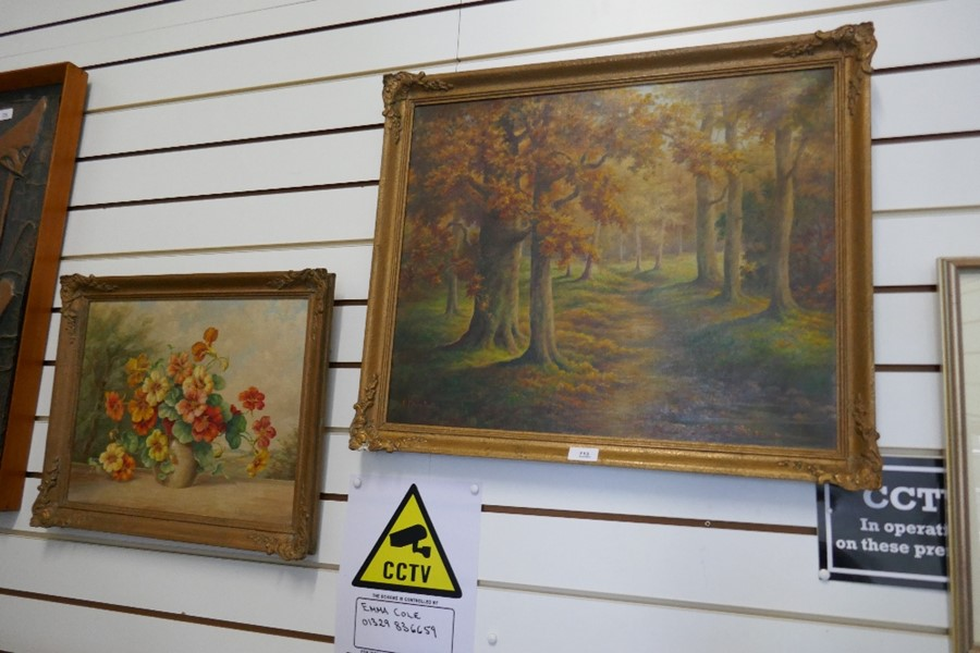 E Bromhall: an oil of a vase of flowers and an oil of a woodland path. The largest 59.5 x 49.5cms - Image 3 of 7