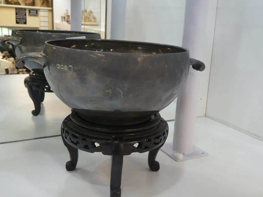 A very large, heavy silver two handled bowl on stand, hallmarked London 1935, Boodle and Dunthorne, - Image 2 of 4