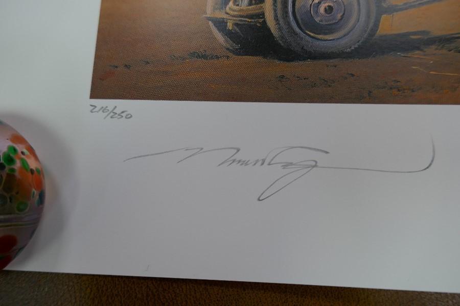 Gavin Mackay 'Chasing the Flying Scotsman' print signed by Lady Bader and a small Robert Taylor prin - Image 3 of 7