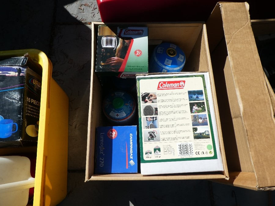 A selection of camping equipment to include Bbq, tables, fold up kitchen unit, sun tents, plastic wa - Image 3 of 5