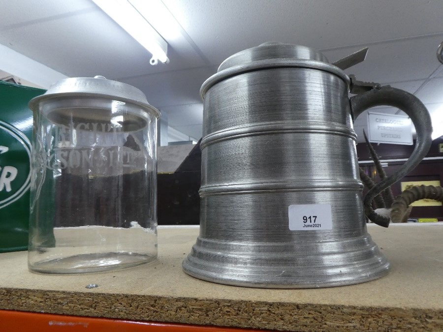 Large tankard - oversized - disguised as an ice bucket along with a Wright & Son glass storage jar