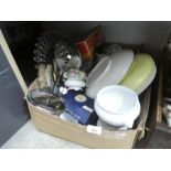 Two mixed boxes of various china and glassware including collector's plates, etc plus sundries