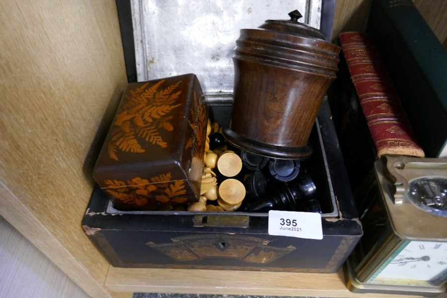 A boxwood chess set, a brass carriage clock, a rolling chessboard, an oriental tea caddy and sundry - Image 2 of 2