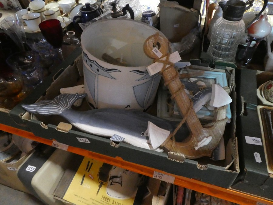 2 Boxes; one containing wooden nautical items and one containing china dishes etc - Image 2 of 2