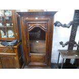 Antique French pillar display cabinet on bun feet, 81cm wide