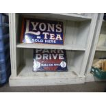 Two old enamel signs for Lyons Tea and Park Drive plain and Corked tipped cigarettes