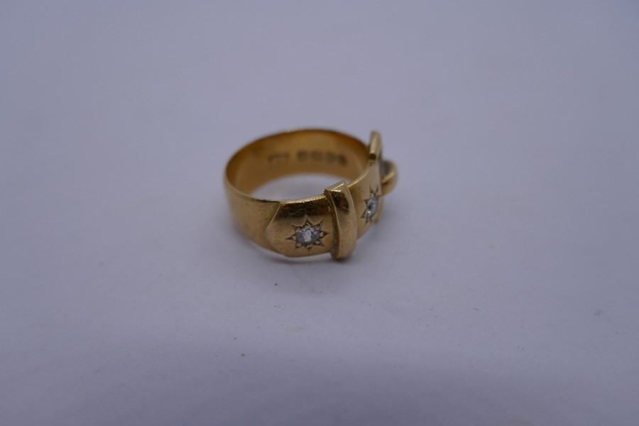 18ct yellow gold buckle ring inset with 2 sunburst diamonds, marked 18ct size N/o, 8.6g approx - Image 4 of 4