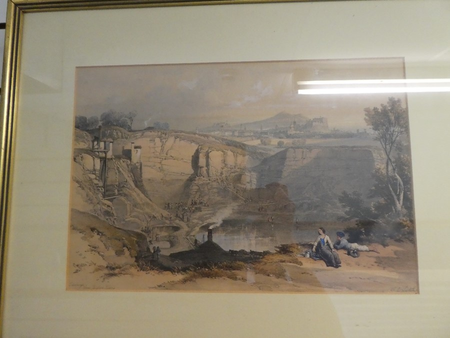 Three antique coloured prints of Edinburgh and the Palace of Holyrood - Image 4 of 7