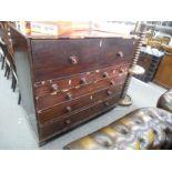 An antique mahogany secretaire chest, 124cms