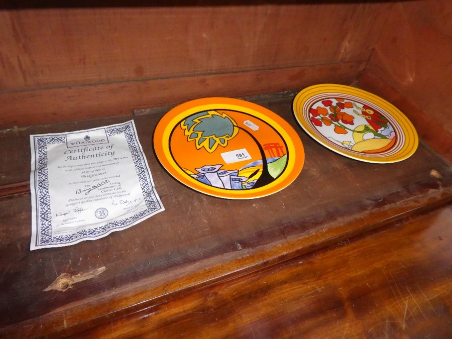 Two Wedgwood limited edition Clarice Cliff plates, one with certificate
