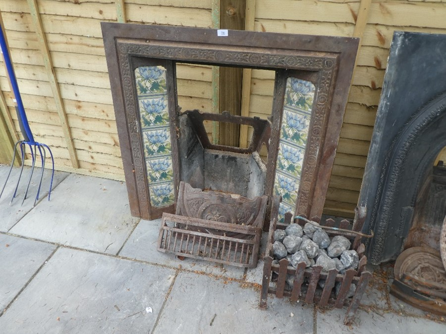 Cast iron and tile fireplace AF with fire basket