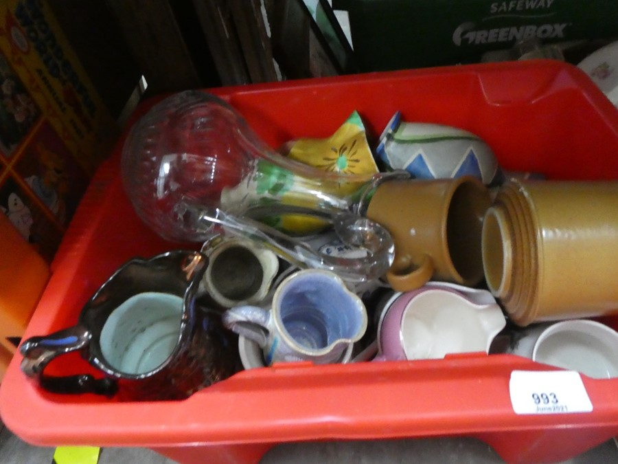 Several boxes of mixed china, glass and treen including Babycham glasses, coat hooks, etc