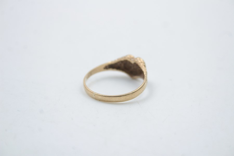9ct gold heart shaped signet ring 1.5g - Image 4 of 6