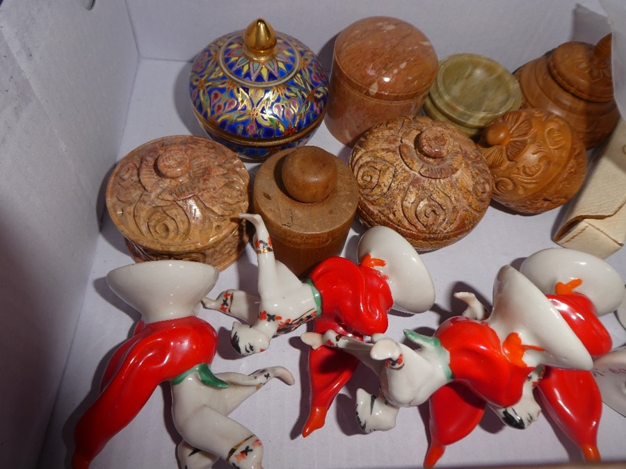 5 Soviet Union china dancers, various bone carvings and sundry - Image 2 of 3