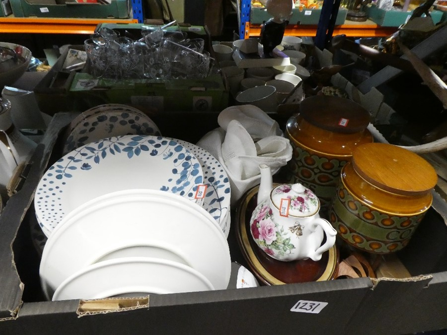 Two boxes of china to include Royal Grafton, Hornsea and Bunny figures
