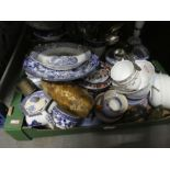 Two boxes of mixed china, glass and sundries to include blue and white chinaware oriental jar with l