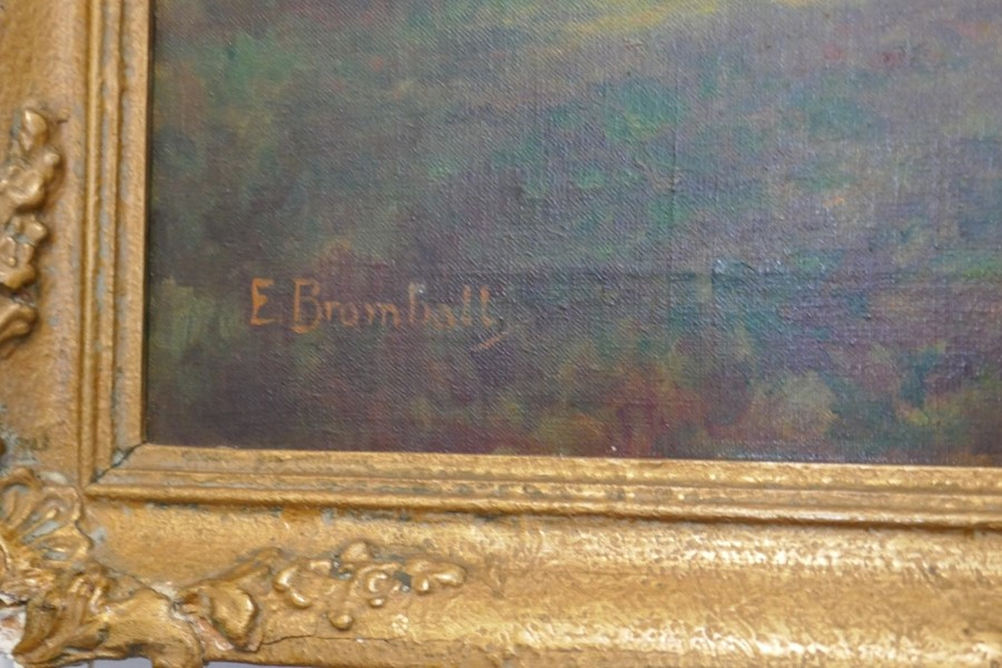 E Bromhall: an oil of a vase of flowers and an oil of a woodland path. The largest 59.5 x 49.5cms - Image 5 of 7