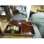 Antique mahogany cutlery tray, an oak tantalus and sundry