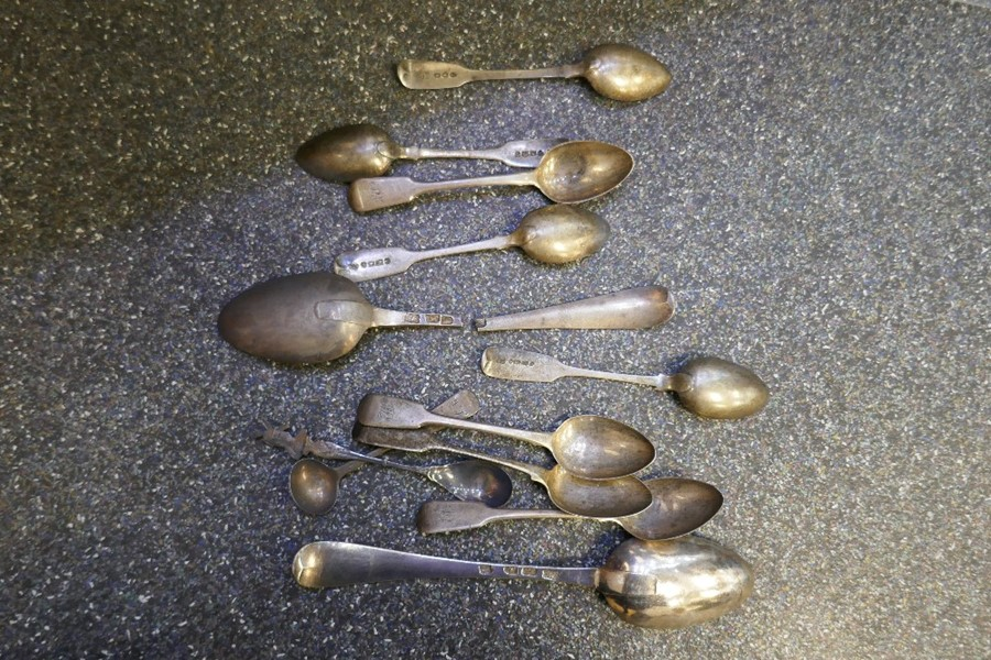A selection of various silver and possibly white metal spoons AF, different hallmarks, 9.02ozt appro