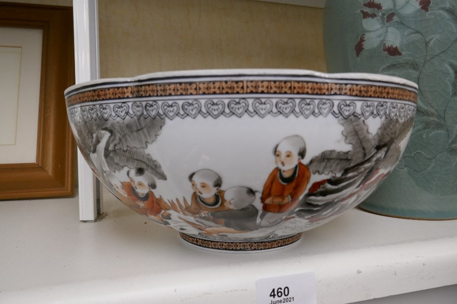 A Chinese eggshell bowl decorated children, 24.5cms and a vase decorated flowers