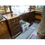 Victorian mahogany twin pedestal desk having 9 drawers 134cm wide