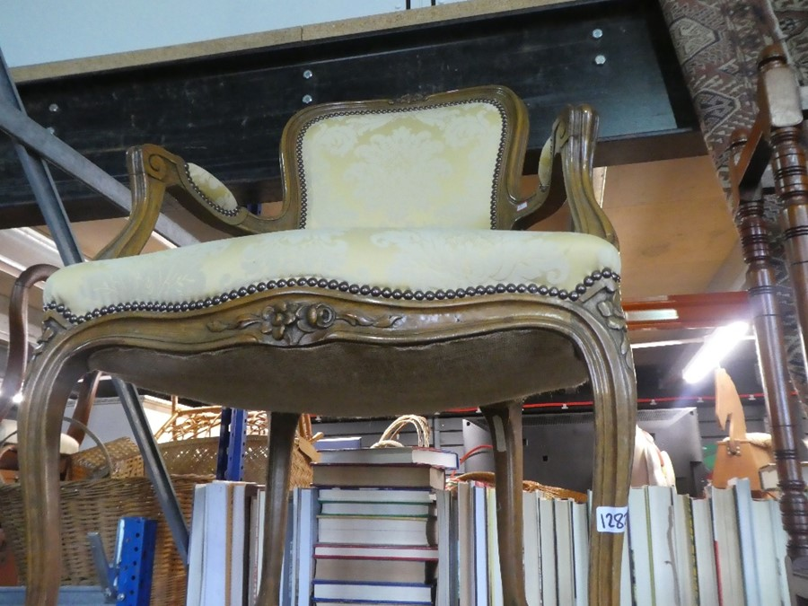 Wooden umberella stand and a heavy carved carver chair with cream floral studded material - Image 2 of 2