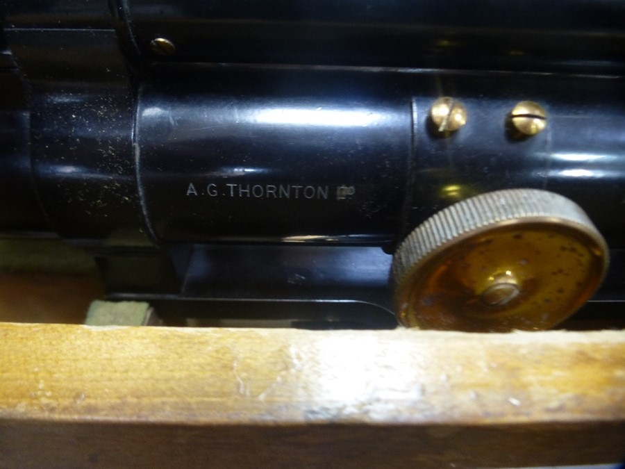 Old Theodolite by A G Thornton, in fitted case with tripod stand and one other - Image 2 of 3