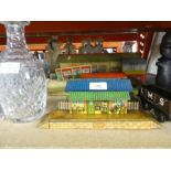 Selection of Hornby tinplate station buildings and rolling stock