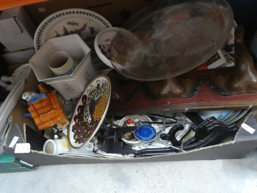 Several boxes of mixed china, glass and treen including Babycham glasses, coat hooks, etc - Image 4 of 6