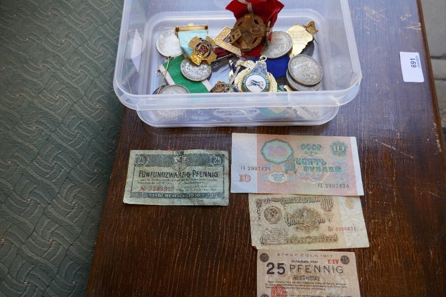 A Chinese coin, other coins, Masonic medals and sundry
