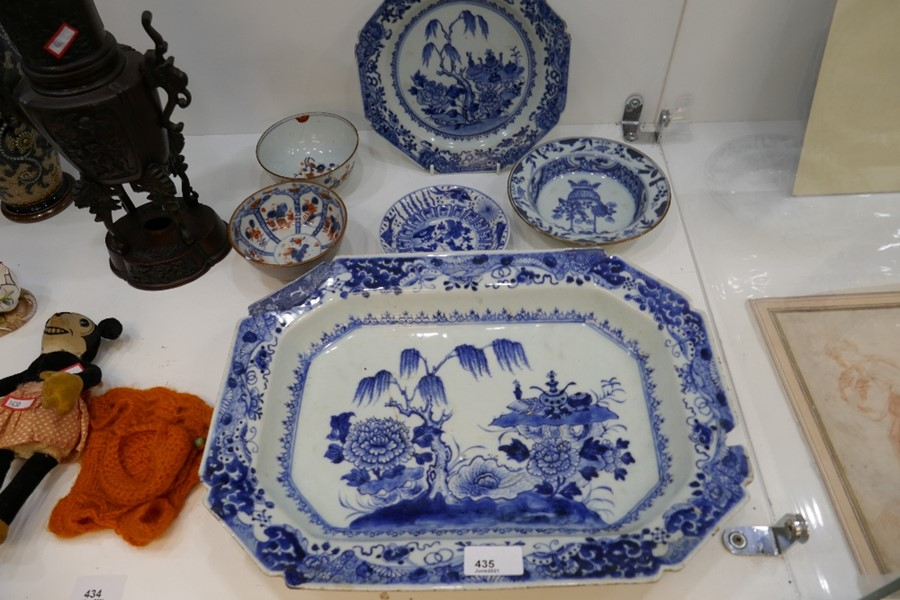 An antique Chinese Nankin platter and five other oriental items - all mainly AF