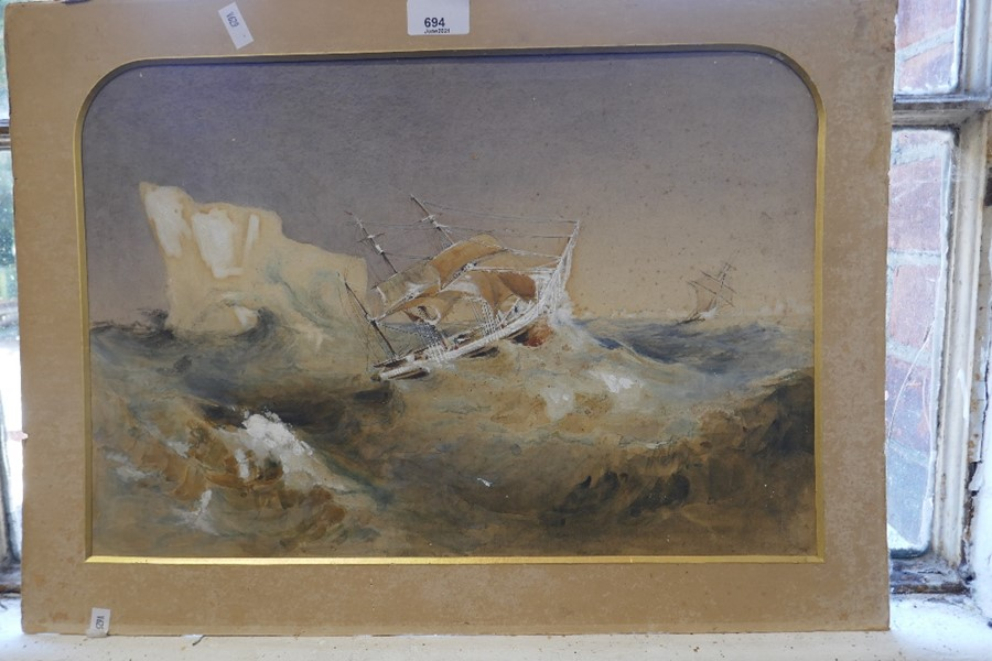 A 19th century watercolour of ships bedside Iceberg, unsigned on board 46x31cms