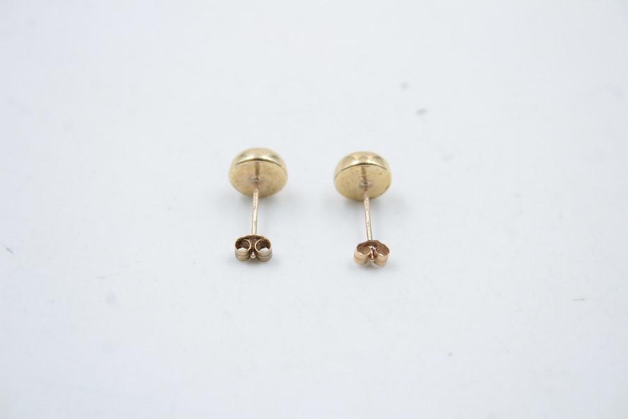 9ct Gold lapis lazuli stud earrings 1g - Image 3 of 4