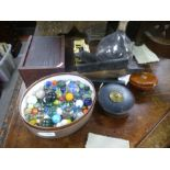 A mixed lot including Marbles, an antique fly catcher and dominoes