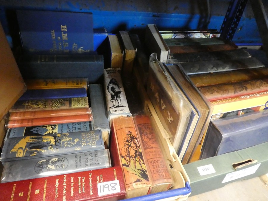 5 Boxes of books to include military books, children's annuals in plastic sleeves, War books and nov