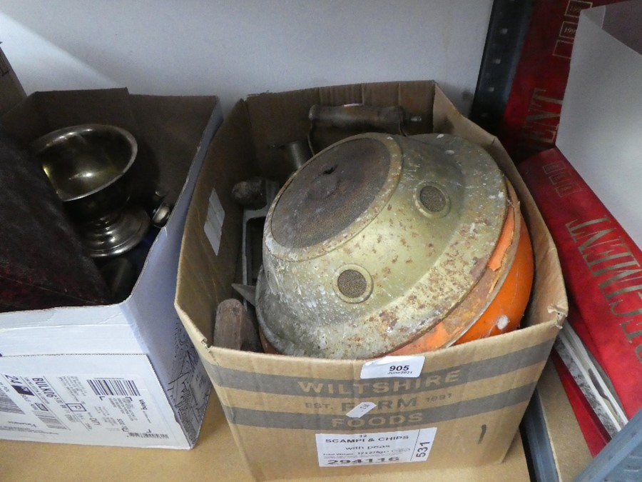 A shelf of mixed china, glass, metalware and old small tools - Image 3 of 4