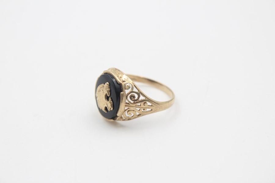 vintage 9ct gold roaring tiger black onyx signet ring 3.7g - Image 3 of 5