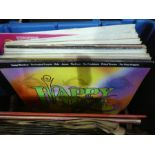 Two boxes of records of various themes, books etc ,