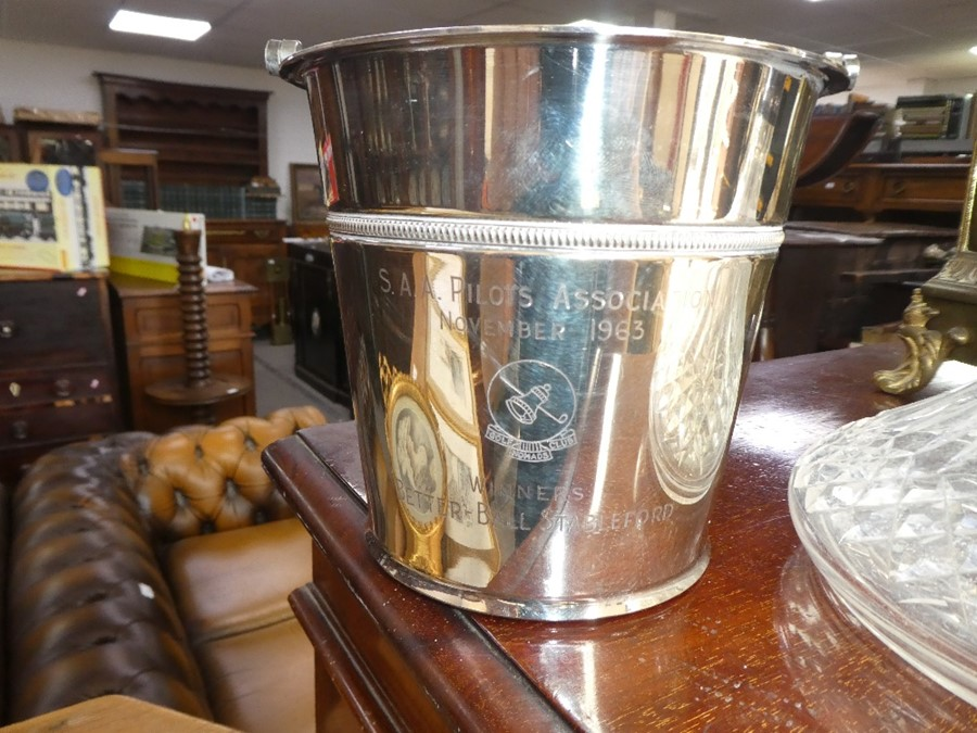 A Waterford crystal decanter having silver hallmarked collar, and a plated ice bucket - Image 2 of 3