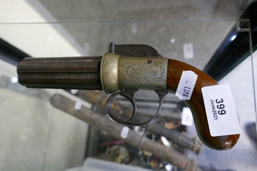 A 19th century Charles Osborne percussion pepperbox pistol having engraved decoration - Image 3 of 3