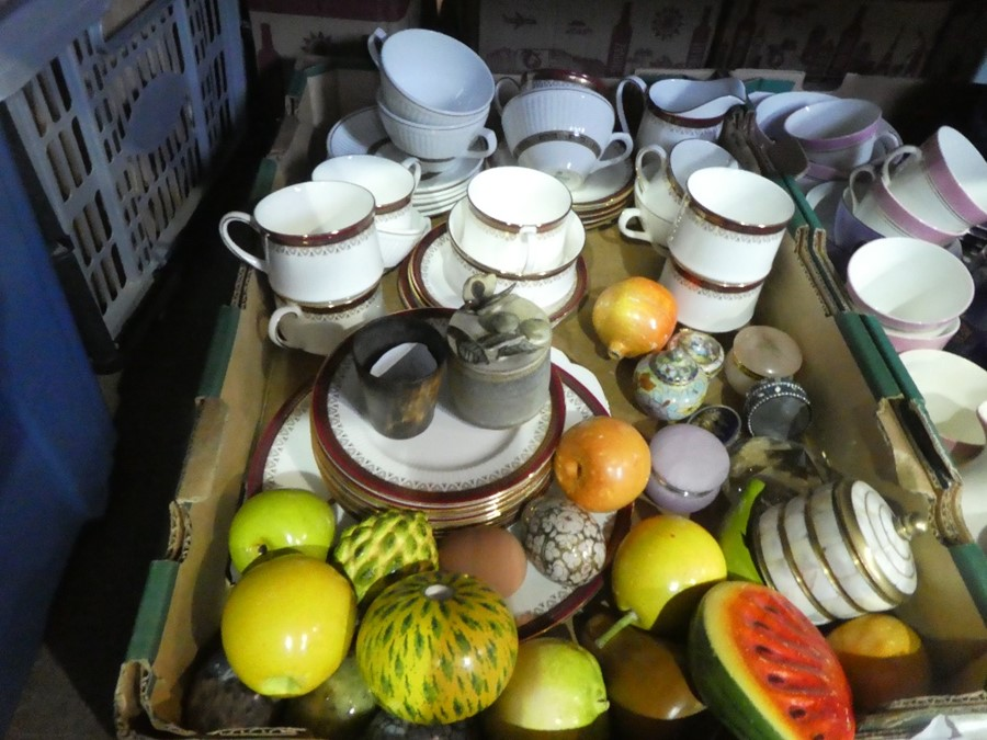 Three boxes of china ware and collectables to include teaware, jugs, brass items, ornaments, etc